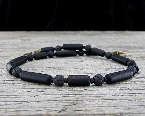 - Mens Anklet - Black Anklet in Matte Glass and Lava Stone - Unisex Ankle Bracelet