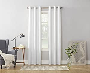 "No. 918 Montego Casual Textured Grommet Curtain Panel, 48"" x 95"", White"