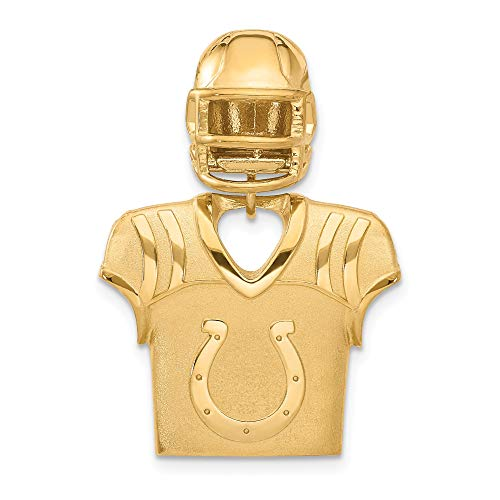 Kira Riley Gold Plated Indianapolis Colts Jersey & Helmet Pendant for Chains and Necklaces