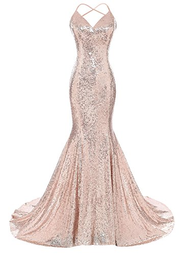 DYS Women's Sequins Mermaid Prom Dress Spaghetti Straps V Neck Backless Gowns Blush Pink US -