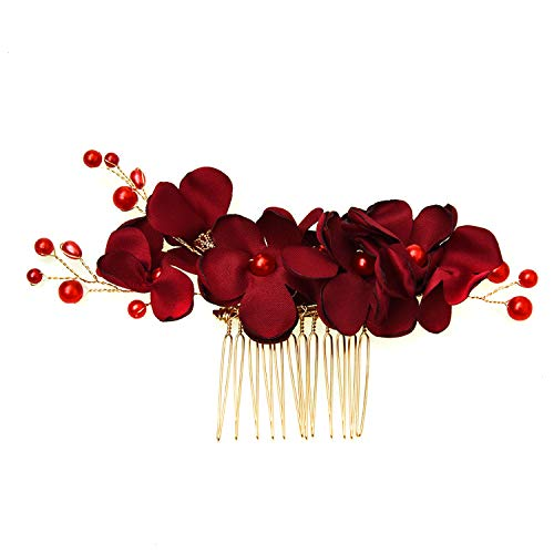 (Monrocco Pearl Flower Hair Side Comb Floral Hair Comb Wedding Headpiece Comb Hair Accessory for Women (Red))