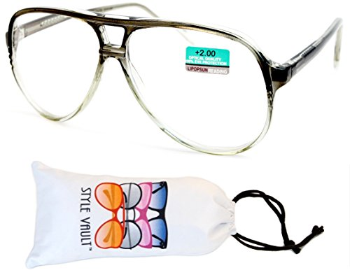 E3015-VP Style Vault Turbo Aviator Reading Glasses (B1866F +2.00 Crystal - 1960s Glasses Style