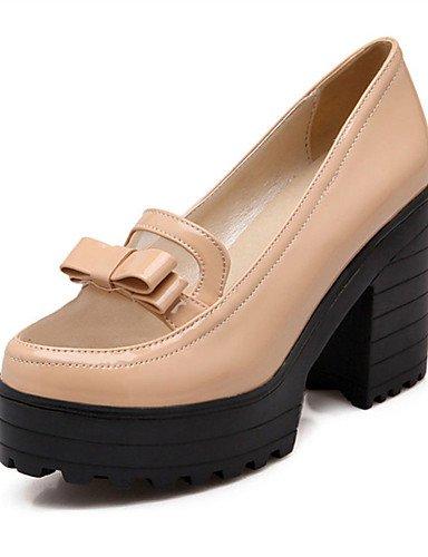 ZQ Zapatos de mujer-Tac¨®n Robusto-Tacones-Tacones-Oficina y Trabajo / Vestido / Casual / Fiesta y Noche-Semicuero-Negro / Blanco / Almendra , black-us9 / eu40 / uk7 / cn41 , black-us9 / eu40 / uk7 / almond-us8.5 / eu39 / uk6.5 / cn40