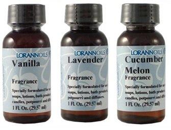 LorAnn Oils Fragrance 1 Ounce Bottles Bundle of 3 (Vanilla, Lavender, Cucumber Melon)