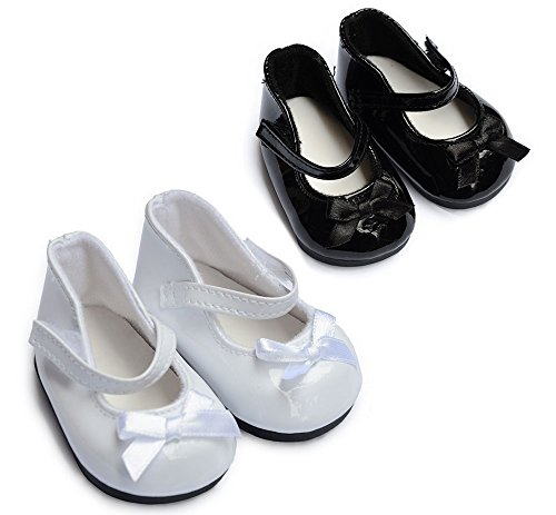 Sweet Dolly Doll Shoes 2 Pairs Black and White Mary Janes Fit 18 Inch American Girl Dolls … Dolls Black Mary Jane Shoes