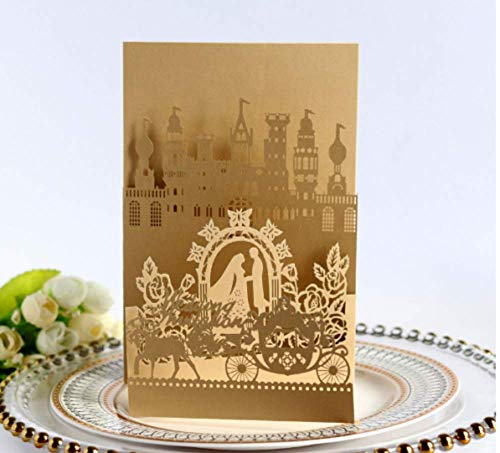 10PCS Card with Belt Rose Gold Laser Cut Wedding Invitations Cards Wedding Birthday Engagement Greeting Tksmart from Unknown