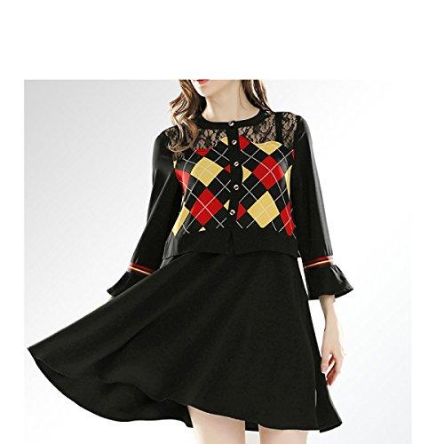 Langärmelige Large Rock Lotusblatt JFin Damen Kleid Zauber Black Size Linie A XXL Spitze 1XHHxZwq