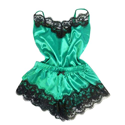 Tsmile Women Lingerie Set Satin Pajamas Lace Sling Shorts Two-Piece Underwear Babydoll Nightdress Nightgown Set Green ()