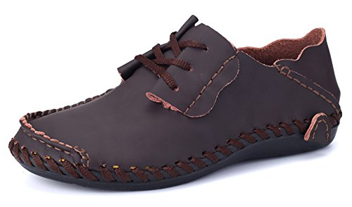Shinysky Mens Comfort Soft Leather Driving Car Shoes Flats Casual Walking Shoes Coffee