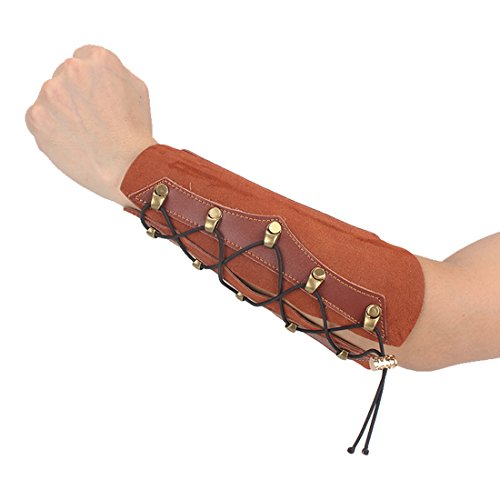 KRATARC Archery Leather Adjustable Wristband Unisex Protective Arm Guard for Hunting Target Bow (Brown (Cowhide))