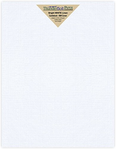 100 Bright White Linen 80# Cover Paper Sheets - 8.5