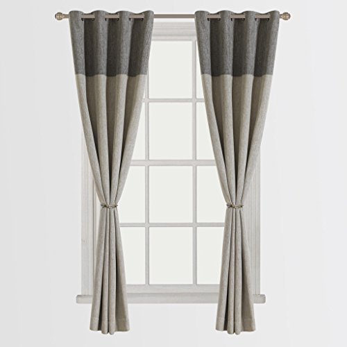 (Cherry Home Set of 2 Classic Bamboo Fiber Faux Room Darkening Grommet Top Curtain Draperies with Multi Size Custom 100