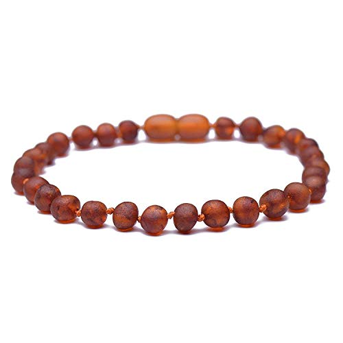 Raw Baltic Amber Bracelet for Adults - Authentic Certified Baltic Amber - Knotted Between Beads - with Screw Clasp - Genuine Baltic Amber (8.6 Inches, ()