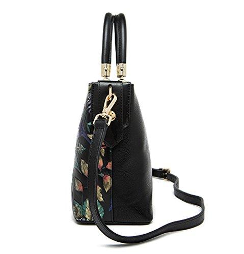 Xinmaoyuan Mujer bolsos de cuero Bolsos Bolso de Hombro única Bolsa de cuero flor estéreo Negro