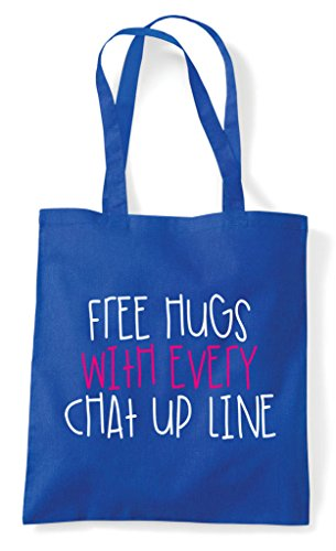 Personalised Do With Free Hen Line Every Up Customised Chat Shopper Tote Blue Royal Hugs Party Bag zwwqvC
