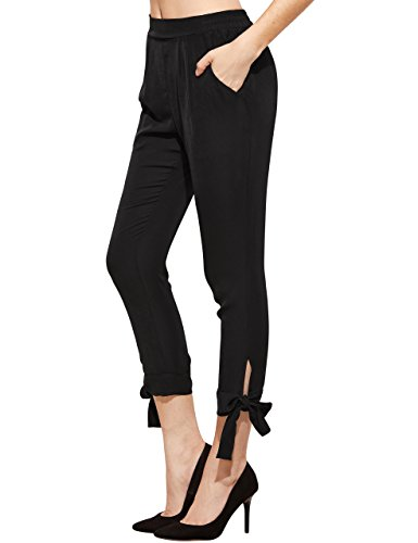 (SheIn Women's Elastic Waist Comfy Bow Tie Hem Crop Skinny Pants with Pockets Small Black)