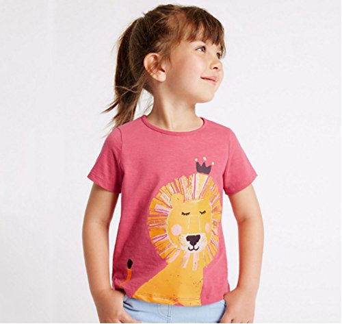 Toddler Boys Girls T-shirts Tops Organic Short-sleeved Cute Animals Prints Embroidery Unisex 2t-7t (4T, Pink1) by KiKi Shop (Image #6)