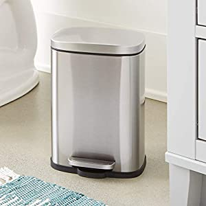 AmazonBasics Rectangle Soft-Close Trash Can – 30L, Satin Nickel