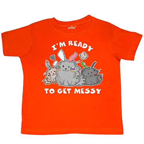 inktastic - I'm Ready to Get Messy-Three Cute Toddler T-Shirt 4T Orange 365d8 (Best 1070 To Get)