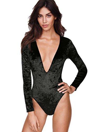 Victoria's Secret Crushed Velvet Plunge Bodysuit, Black (M/L)