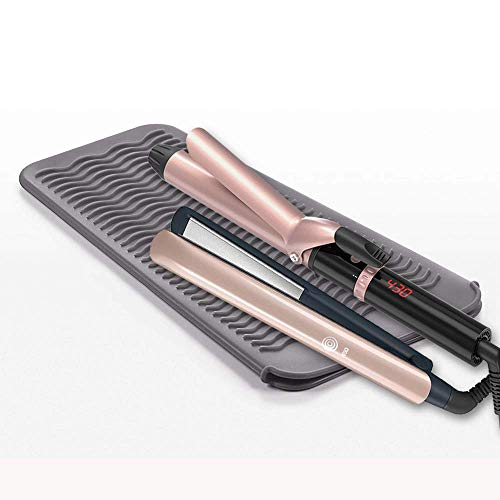 Flat Iron Mat & Pouch, Heat Resistant Mat for Hair Straightener and Curling Iron, Silicone Travel Hair Straightener Mat and Cover for Hair Styling Tools