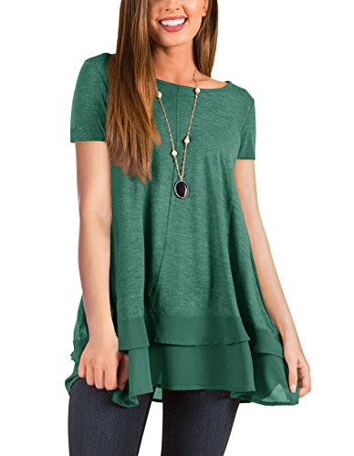 (PRETTODAY Women's Long Sleeve Tunic Tops Round Neck Chiffon Hemline Loose Blouses (A-Army Green, Large))