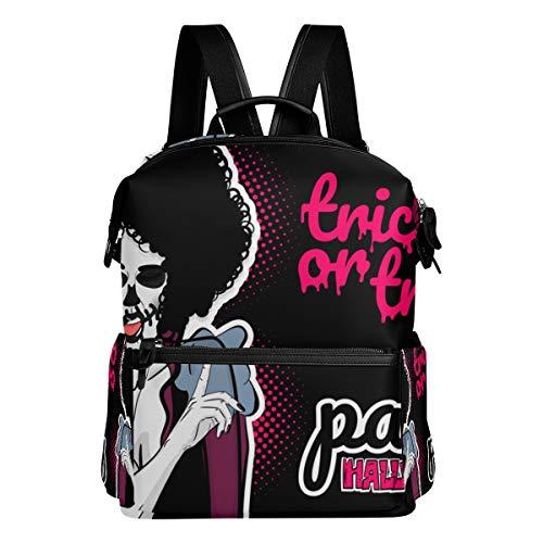 MOBEITI Pop Art Halloween Evil Zombie Makeup Laptop Backpack Leather Strap School Bag Outdoor Travel Casual Daypack -