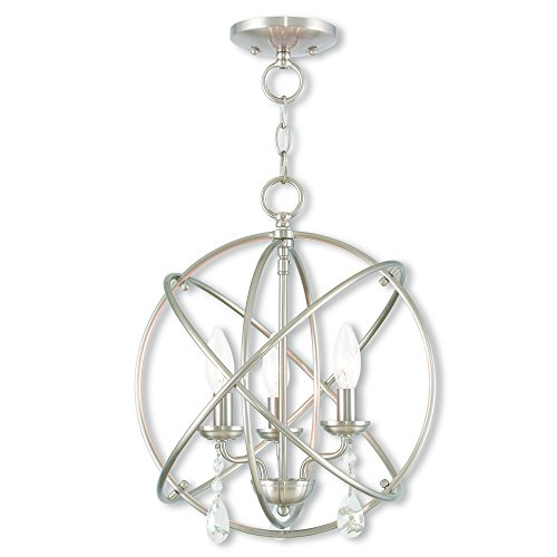 Livex Lighting 40904-91 Aria 3 Light BN Mini Chandelier/Ceiling Mount, Brushed Nickel