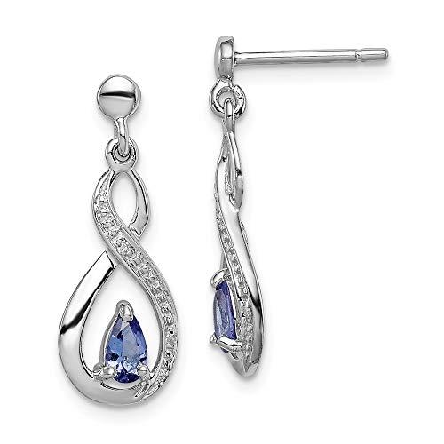 925 Sterling Silver Blue Tanzanite Diamond Post Stud Earrings Drop Dangle Fine Jewelry Gifts For Women For Her ()