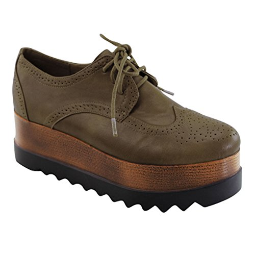 Best Jetta Classic Bronze Oxford Platform Wedge Fashion Stylish Round Toe Laceup Designer Lightweight Retro Church Office Shoe Sneaker Clearance Christmas Deal for Ladies Women Girl (Size 5.5 Bronze) (Winter Oxfords)