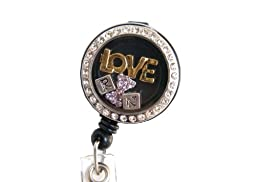 Shimmering Rhinestone Medical Field ID Badge Pull Reels Retractable ID Badge Holders (RN Love Charm)