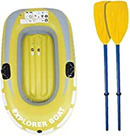Inflatable Boat 2 Person Dinghy Boat Challenger Kayak Inflatable Set With Paddles For Fishing Yellow