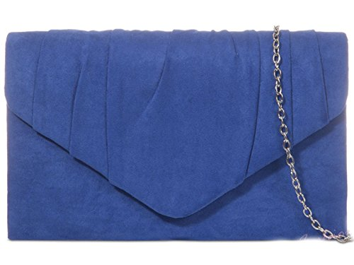 Bag Royal Suede Party Clutch Wedding Pleated Hand Purse Evening Hotstylezone Womens Blue Prom HandBag 7fEqzwEFn