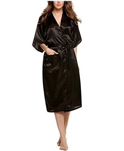 Encan Bata clásica de mujer, estilo kimono satinado negro