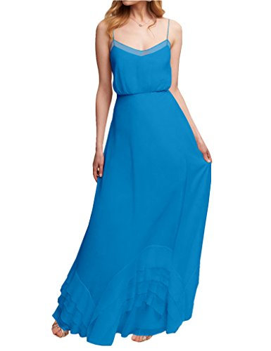 Chiffon Prom Wedding Bridal Strap Bridesmaid Gown Women's Blue Dress Spaghetti Long Amore q6RBIq