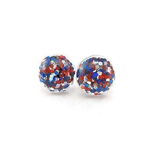 Red, Blue and Silver, Glitter Filled Bubble Earrings on Plastic Posts