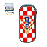 XTQI Croatia Soccer Pencil Case,Big Capacity Pen Bag with Double Zipper Blue