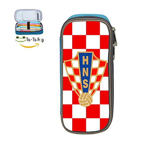 XTQI Croatia Soccer Pencil Case,Big Capacity Pen Bag with Double Zipper Blue by XTQI