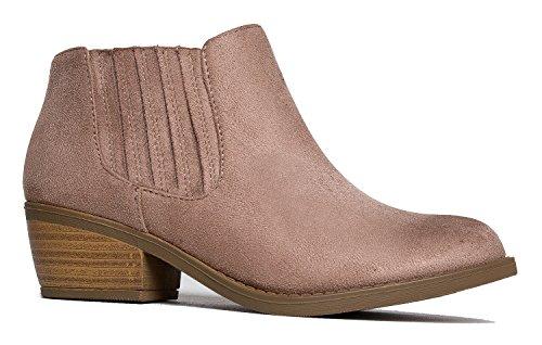 (J. Adams Arlo Western Bootie – Comfortable Round Toe Low Heel Slip On Ankle Boot)