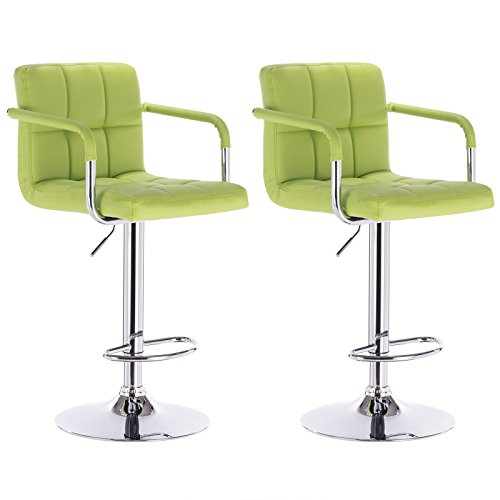WOLTU Armrest Bar Stool ABSX1003agn-c 360 degree Swivel Bar Stool Apple Green Bonded Leather Bar Stool Adjustable height Barstools Work Sturdy work Place Bar Stools, Set of (Winsome Walnut Bench)