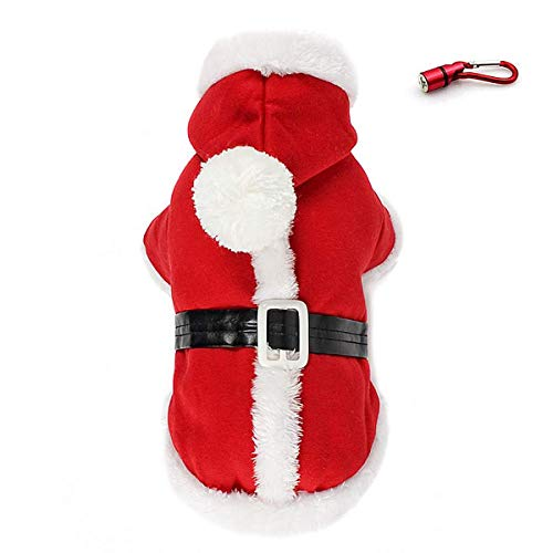 PETLESO Dog Santa Costume - Puppy Dog Christmas Coat Doggie Santa Costume Outfit With a LED Flashing Dog Tag -XL