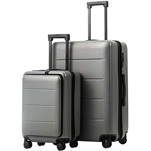 COOLIFE Luggage Suitcase Piece Set Carry On ABS+PC Spinner Trolley with Laptop pocket (Titanium gray, 2-piece Set) (Hardside Suitcase Luggage Trolley)