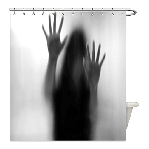 Liguo88 Custom Waterproof Bathroom Shower Curtain Polyester Horror House Decor Silhouette of Woman behind the Veil Scared to Death Obscured Paranormal Photo Gray Decorative bathroom by liguo88