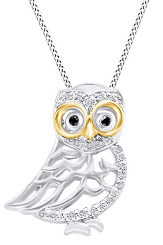 (Round Black & White Natural Diamond Two Tone Owl Pendant Necklace 14K White Gold Over Sterling Silver (0.10 Cttw))