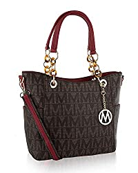 Mkf Crossbody Shoulder Handbag For Women Removable Shoulder Strap Vegan Leather Top Handle Satchel Tote Bag Red
