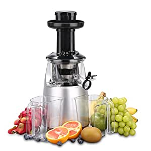 O-Breko Slow Masticating Juicer with 200W 65 RPM DC Motor and Reverse Function, Spraying Silver