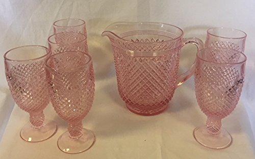 (Addison Pattern Glass Pitcher Set - American Made (7 Piece Set, Rose Pink))