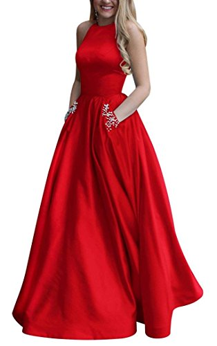 Women's Long Beaded Halter Satin Prom Dress A Line Open Back Evening Gowns with Pockets Red US16