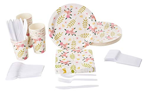 Disposable Dinnerware Set - Serves 24 - Floral Themed Vintage Flowers Party Supplies for Weddings, Bridal Showers, Birthdays - Includes Plastic Knives, Spoons, Forks, Paper Plates, Napkins, -