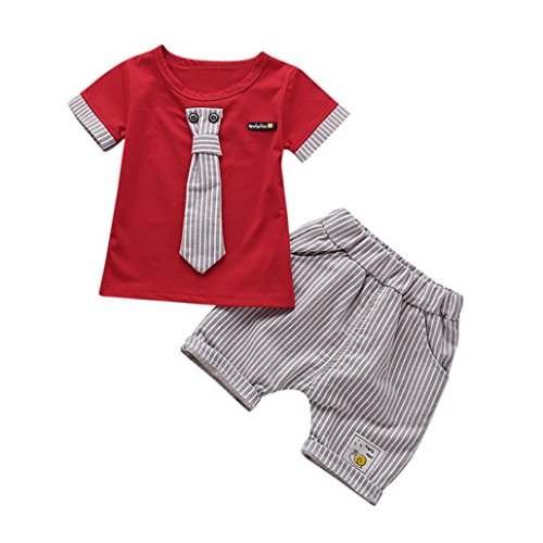 Kstare Baby Boys Short Sleeve Striped Tie T-Shirt Tops+Shorts Clothes Set (6M-12M, Red)